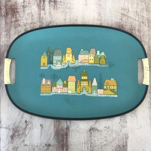 Vintage Turquoise Serving Tray Little Houses